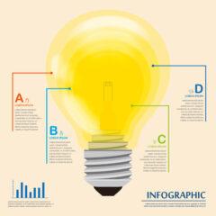 وکتور لامپ روشن برای اینفوگرافیک
