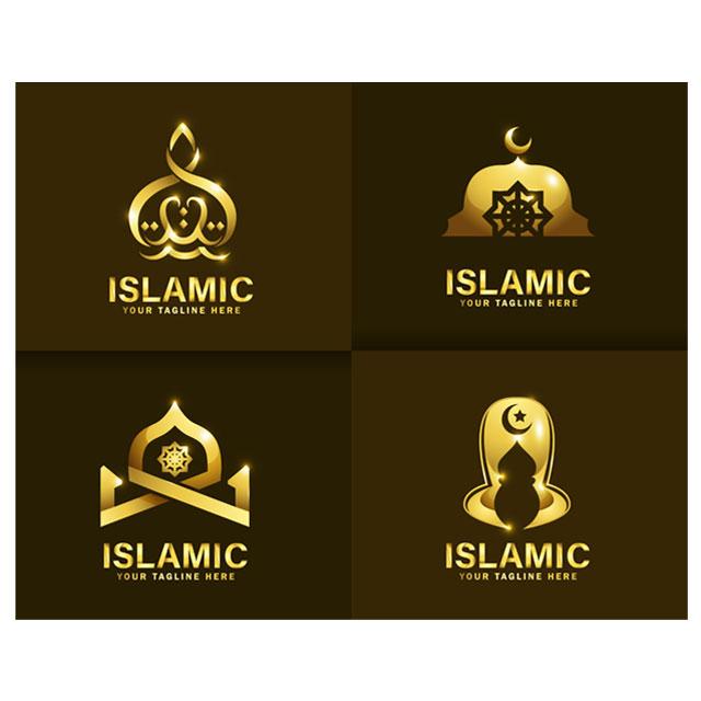 وکتور لوگوی اسلامی طرح طلایی