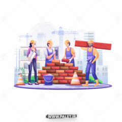 وکتور تبریک روز کارگر و مهندس ساختمانی