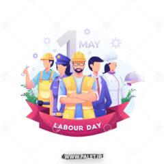 وکتور تبریک روز مهندس و کارگر