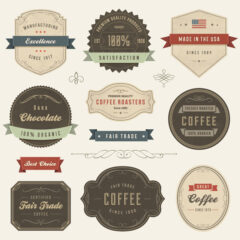 وکتور لیبل های طرح کافه