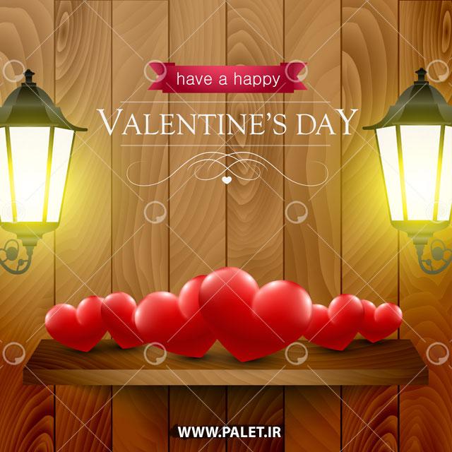 وکتور پس زمینه روز ولنتاین و قلب قرمز