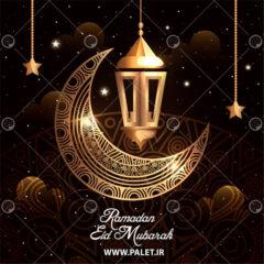 وکتور لایه باز عید فطر ماه رمضان