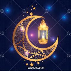 وکتور اسلیمی هلال ماه و فانوس رمضان