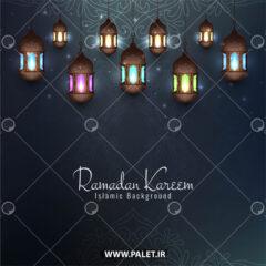 وکتور فانوس اسلیمی زیبا با نور رنگی
