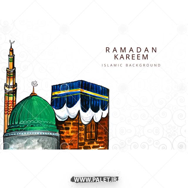 وکتور مسجد و کعبه کارتونی زیبا