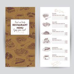 وکتور منو رستوران ایتالیایی پیتزا و پاستا