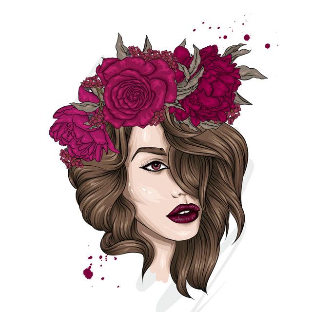 طرح دختر زیبا با گل سر رنگی جذاب