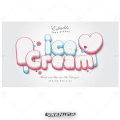 وکتور استایل متنی بستنی خوشمزه