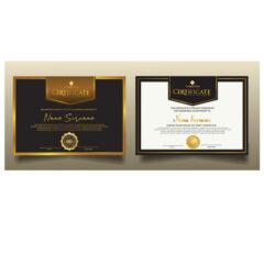 وکتور گواهینامه با طرح سفید و طلایی