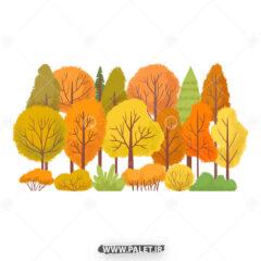 وکتور طرح درختان پاییزی زیبا