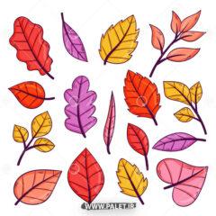 وکتور برگ های رنگی درختان جنگلی