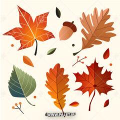 وکتور برگ پاییزی درختان جنگلی