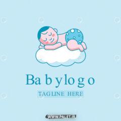 وکتور لوگو بچه نوزاد خوابالو