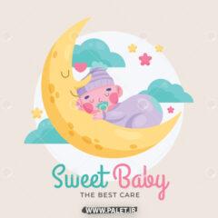 وکتور لوگو نوزاد در آغوش ماه