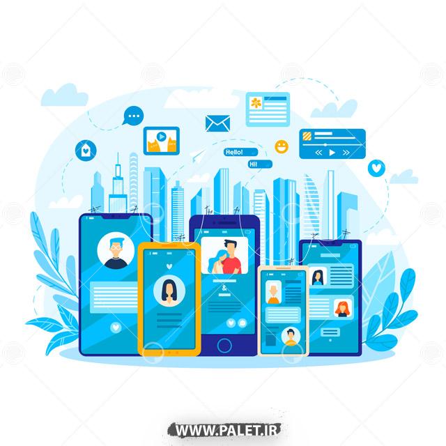 وکتور موبایل و کاربران شبکه اجتماعی