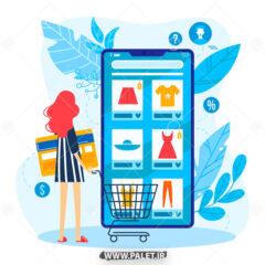 وکتور خرید اینترنتی لباس با موبایل