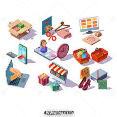 وکتور اجزای طراحی برای سایت فروش انلاین