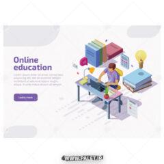 وکتور مفهومی آموزش انلاین با لپ تاپ