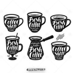 وکتور فنجان قهوه و قهوه ساز