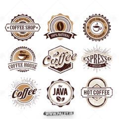 وکتور لیبل ها قهوه برای قهوه فروشی