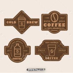 وکتور لیبل کافه عربی زیبا