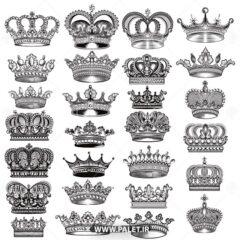 وکتور انواع تاج های پادشاهی