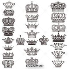 وکتور انواع مختلف تاج پادشاهی زیبا