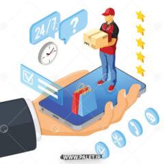 وکتور سفارش اینترنتی با گوشی هوشمند