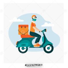 وکتور کاراکتر تحویل کالا با موتور سیکلت