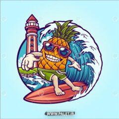 وکتور کارتونی تفریح لب ساحل آناناس