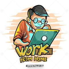 وکتور کارتونی کار در خانه اینترنتی