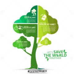 وکتور طرح درخت سبز با اکولوژی خاص