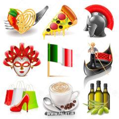 وکتور لوگو های ایتالیایی و پیتزا