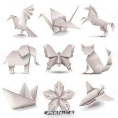 وکتور اوریگامی حیوانات طرح کاغذ سفید