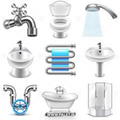 وکتور وسایل بهداشتی و شیر آب