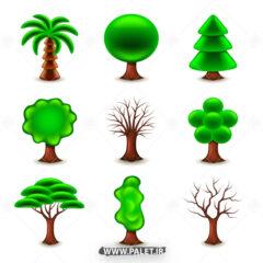 وکتور لوگو انواع درخت سبز