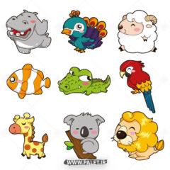 وکتور کارتونی حیوانات جنگلی