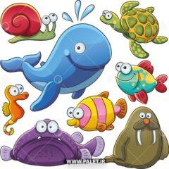 وکتور کارتونی حیوانات دریایی
