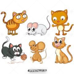 وکتور کارتونی گربه و موش زیبا