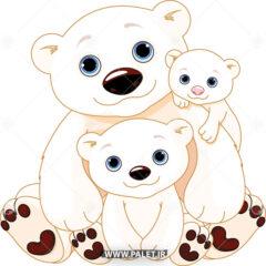 وکتور کارتونی خرس قطبی و بچه هاش