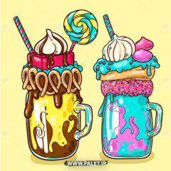 وکتور بستنی خامه ای میوه ای