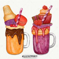 وکتور بستنی اسموتی میوه ای
