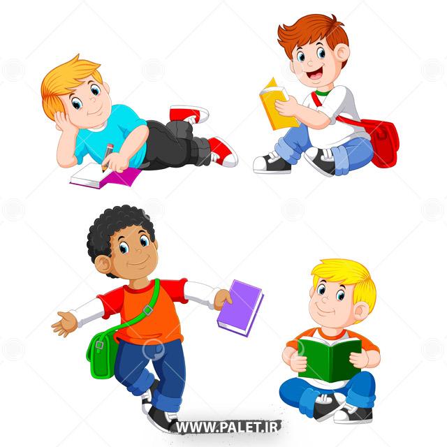 وکتور دانش آموز دبستانی