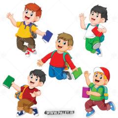 وکتور بچه های خردسال با کیف مدرسه