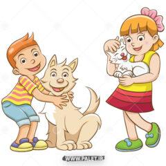 وکتور دختر و پسر با حیوان خانگی