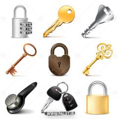 وکتور انواع کلید و قفل گرافیکی