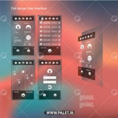 وکتور قالب فلت برای طراحی موبایلی