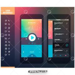 طرح لایه باز رابط کاربری موبایل گرافیکی