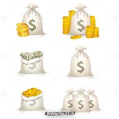 وکتور کیسه پول و دلار